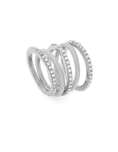 Cole Haan Five-Piece Crystal & silvertone Stacked Ring Set-SILVER-7