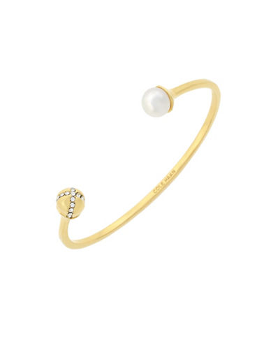 Cole Haan Crystal & Mother-Of-Pearl Sets The Ball In Motion Open Cuff Bracelet-GOLD-One Size