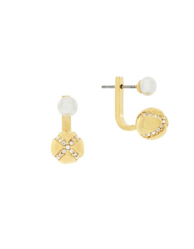 Cole Haan Crystal & Mother-Of-Pearl Sets The Ball In Motion Front-Back X Earrings-WHITE-One Size