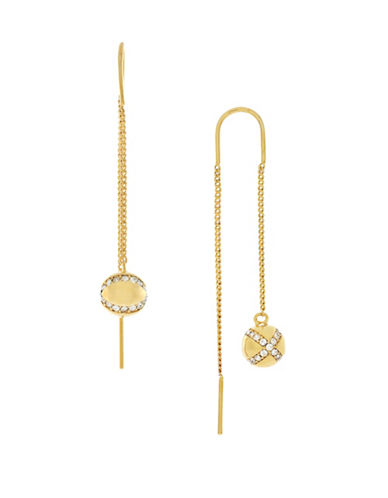 Cole Haan Crystal & Mother-Of-Pearl Sets The Ball In Motion Chain Threader Earrings-GOLD-One Size