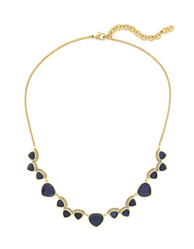 Cole Haan Crystal Garden At Midnight Frontal Necklace-BLUE-One Size