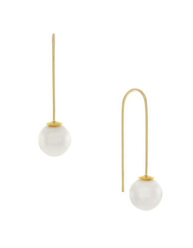 Cole Haan Pearl Sets The Ball In Motion Wire Threader Earrings-WHITE-One Size
