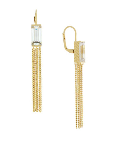Cole Haan Crystal Tassel Baguette Drop Earrings-GOLD-One Size