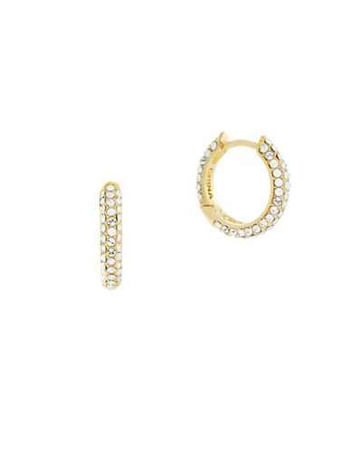 Cole Haan Pave Crystal Baguette Hoop Earrings-GOLD-One Size