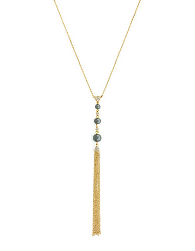 Cole Haan Linear Faux Pearl Tassel Necklace-GOLD-One Size