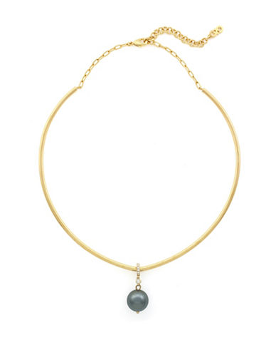 Cole Haan Pearl Pendant Collar Necklace-GOLD-One Size