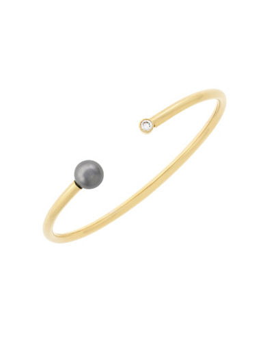 Cole Haan Faux Pearl and Crystal Bracelet-GOLD-One Size