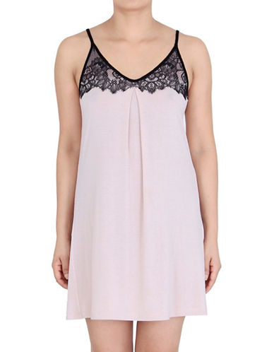 Jones New York Contrast Lace-Detailed Chemise-BEIGE-Medium