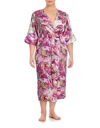 Jones New York Plus Long Paisley Robe-PINK-1X plus size,  plus size fashion plus size appare