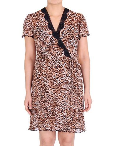 Jones New York Leopard Print Mesh Body Wrap-LEOPARD-Small/Medium