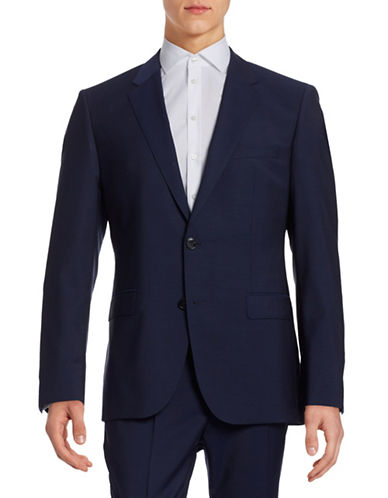 Hugo Virgin Wool Suit Jacket-BLUE-44 Tall