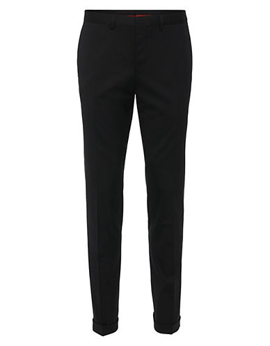 Hugo Day and Night Look Wool-Blend Dress Pants-BLACK-EU 54/US 38