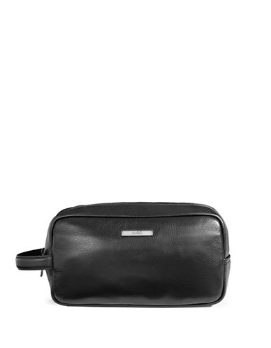 Hugo Element Leather Toiletry Bag-BLACK-One Size