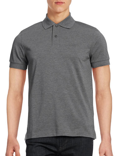 Boss Green Solid Polo Shirt-GREY-Small