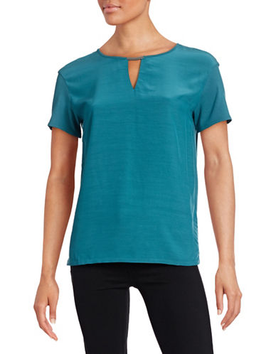 Hugo Dicava Split-Neck Top-BLUE-X-Large plus size,  plus size fashion plus size appare
