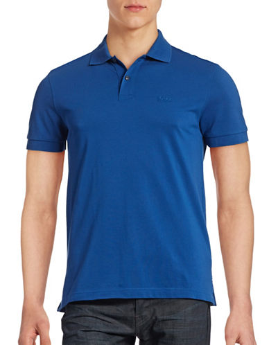 Boss Green Solid Polo Shirt-BLUE-Small
