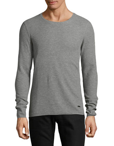 Boss Orange Slim-Fit Thermal-Knit Top-GREY-Small