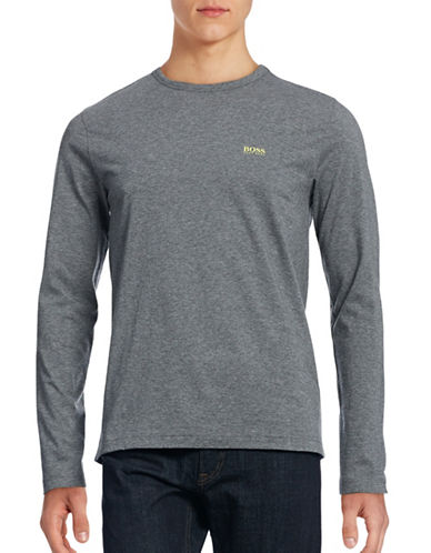 Boss Green Modern-Fit Long Sleeve Cotton T-Shirt-MEDIUM GREY-Large
