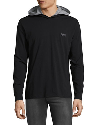 Boss Hooded Long-Sleeve Shirt-BLACK-X-Large