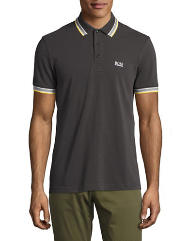 Boss Green Paddy Regular-Fit Pique Polo-GREY-Small