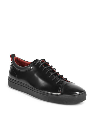 Hugo Monochrome Polished Leather Sneakers-BLACK-8