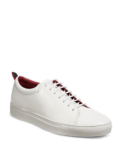 Hugo Monochrome Polished Leather Sneakers-WHITE-11