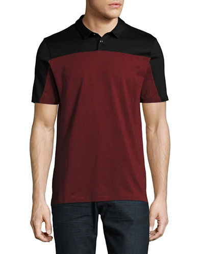 Hugo Domfort Colourblock Slim-Fit Polo-BLACK/RED-Large