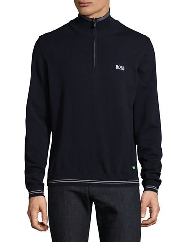 Boss Green Zime Tipped Quarter-Zip Sweater-NAVY-Small