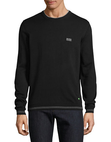 Boss Green Rime Crew Neck Logo Sweater-BLACK-Large