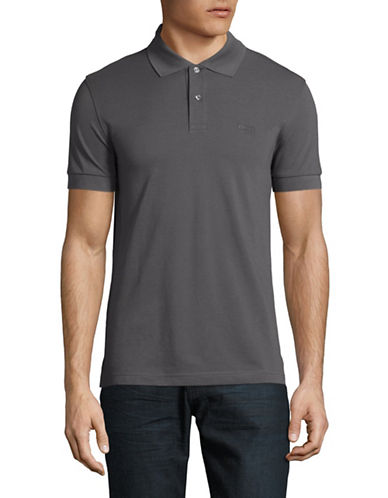 Boss Green Pique Polo-GREY-Small