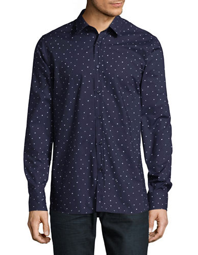 Hugo Elisha Printed Sport Shirt-NAVY-Medium