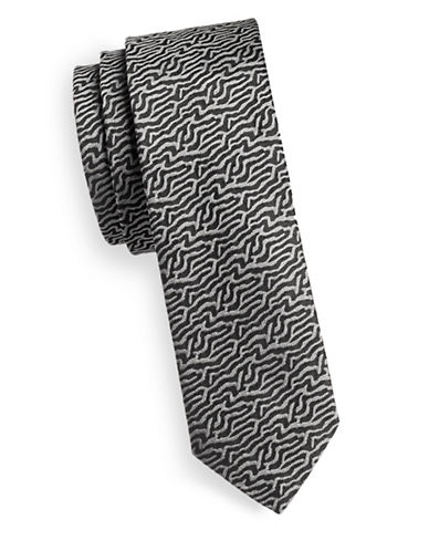 Hugo Silk River Print Tie-BLACK-One Size