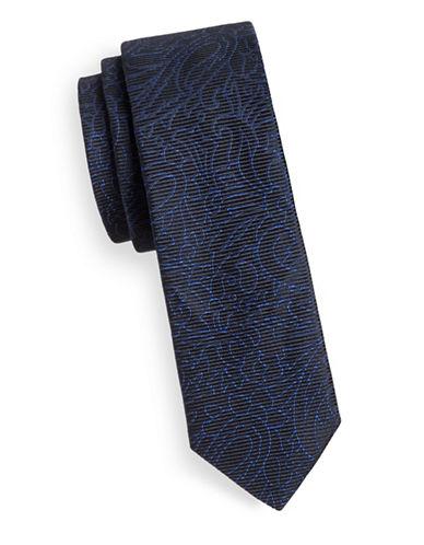 Hugo Floral-Line Skinny Silk Tie-NAVY-One Size