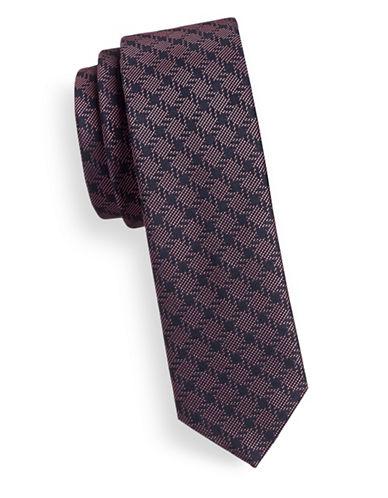 Hugo Slim Checkered Silk Tie-PURPLE-One Size
