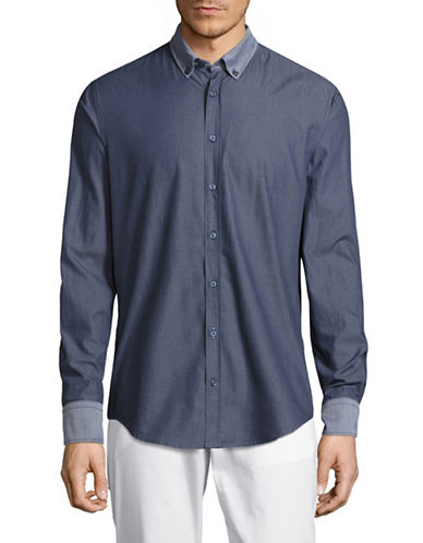 Boss Orange EdipoE Slim Fit Sport Shirt-DARK BLUE-Large