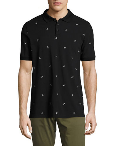 Hugo Deraton Paisley-Printed Polo-BLACK-Medium