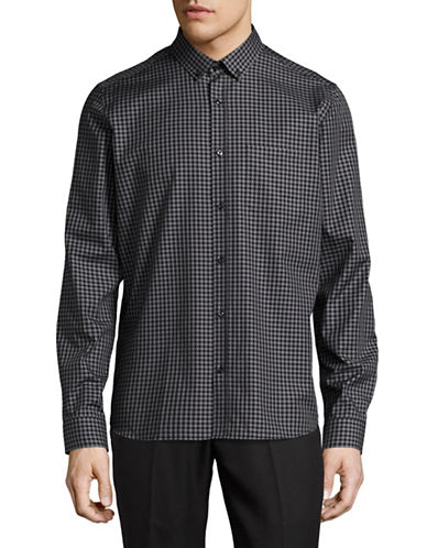 Hugo Emingway Gingham Sport Shirt-BLACK-Medium