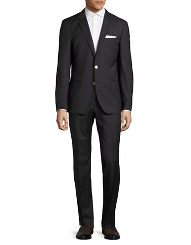 Hugo Patterned Wool Suit-CHARCOAL-44