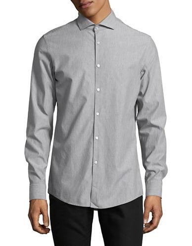 Hugo Textured Polka Dot Shirt-GREY-EU 41/US 16