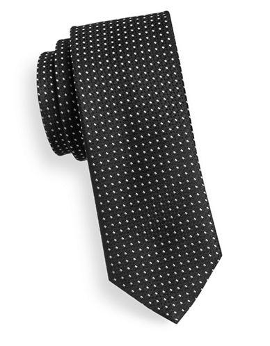Hugo Slim Square Dot Silk Tie-BLACK-One Size
