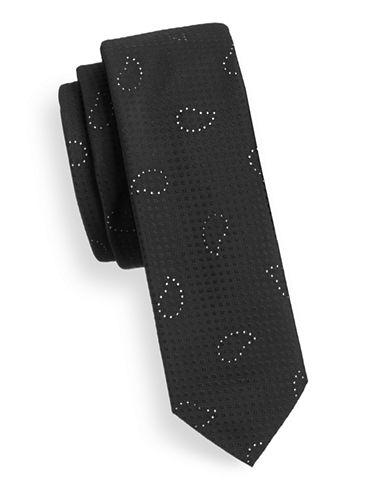 Hugo Minimalist Paisley Silk Tie-BLACK-One Size