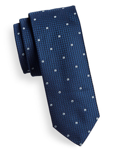 Hugo Layered Dot Slim Silk Tie-NAVY-One Size