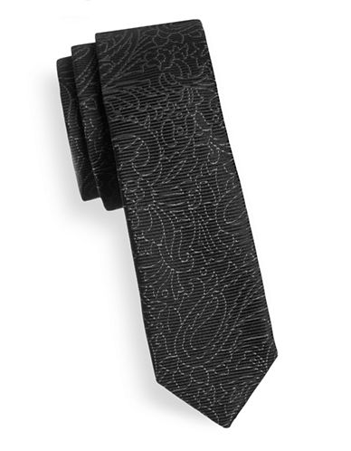 Hugo Floral-Line Skinny Silk Tie-BLACK-One Size