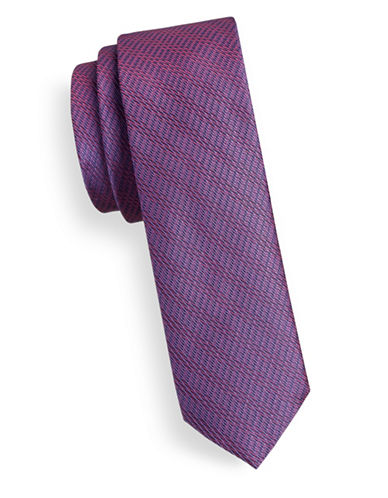 Hugo Slim Woven Silk Tie-PINK-One Size