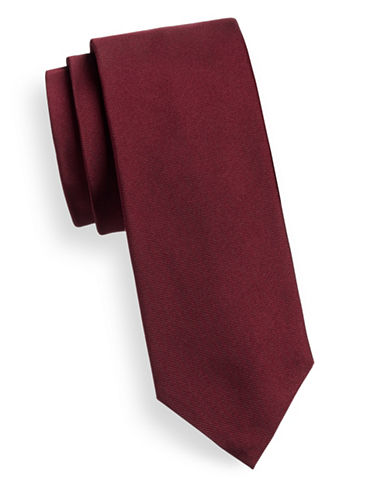 Hugo Slim Silk Tie-DARK RED-One Size