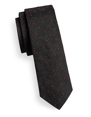 Hugo Layered Dot-Grid Skinny Silk Tie-BLACK-One Size