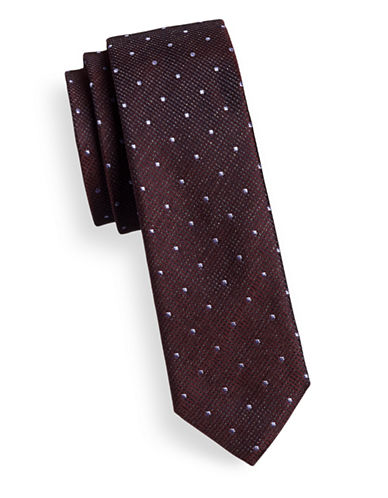 Hugo Layered Dot-Grid Skinny Silk Tie-RED-One Size