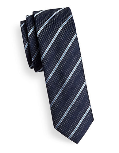Hugo Mixed-Stripe Skinny Silk Tie-NAVY-One Size