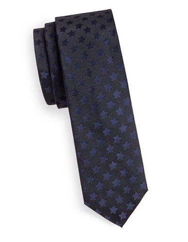 Hugo Silk Tonal Star Print Tie-NAVY-One Size