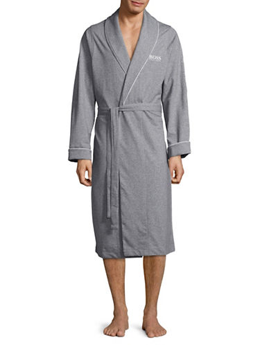 Boss Shawl Collar Robe with Belt-CHARCOAL-Large